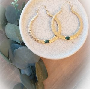 Anthro Stone Hammered Hoops